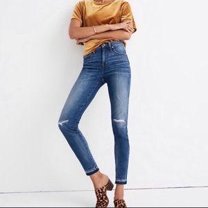 Madewell High Rise Raw Hem Skinny Jeans, 25, Blue